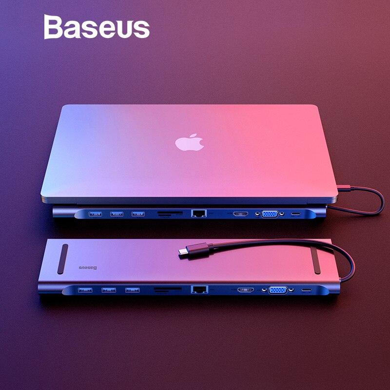 Baseus Multi 10 in 1 USB C HUB to HDMI VGA USB 3.0 RJ45 3.5mm Audio Adapter for MacBook Type C HUB for Samsung S8 Huawei Mate 10