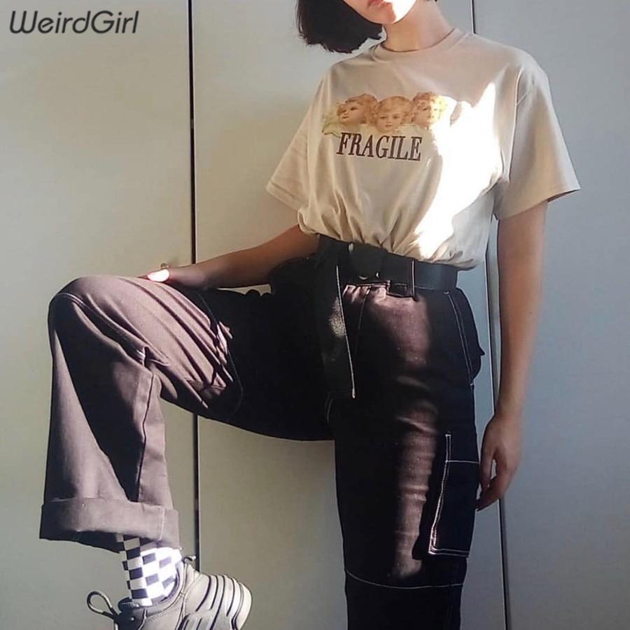Weirdgirl Women Baby Angel Printing Casual Fashion T-shirts letter Short Sleeve O-Neck Khaki Loose Female Tees Summer New 19 20