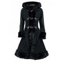 Sisjuly women european winter coats gothic long sleeve single breasted slim black hooded coat autumn solid jacket overcoats hot