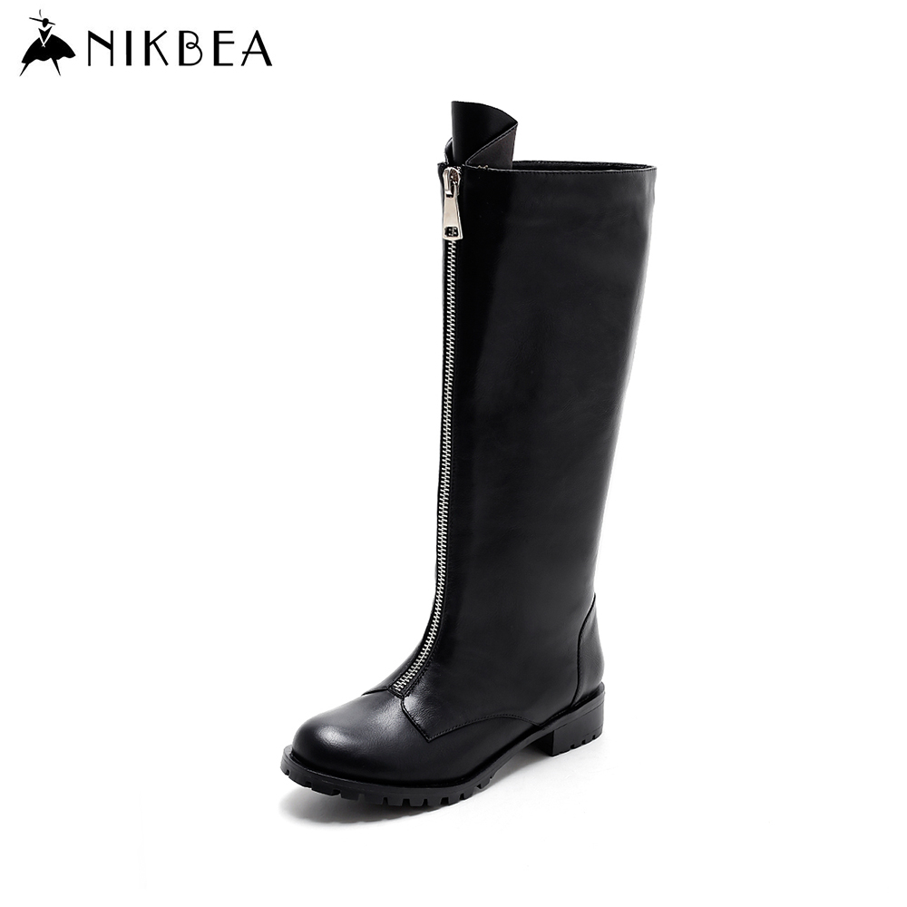 Nikbea Womens Boots Winter 2016 Knee High Long Riding Boots Black Fashion Brand Warm Winter Shoes Women Handmade Botas Largas
