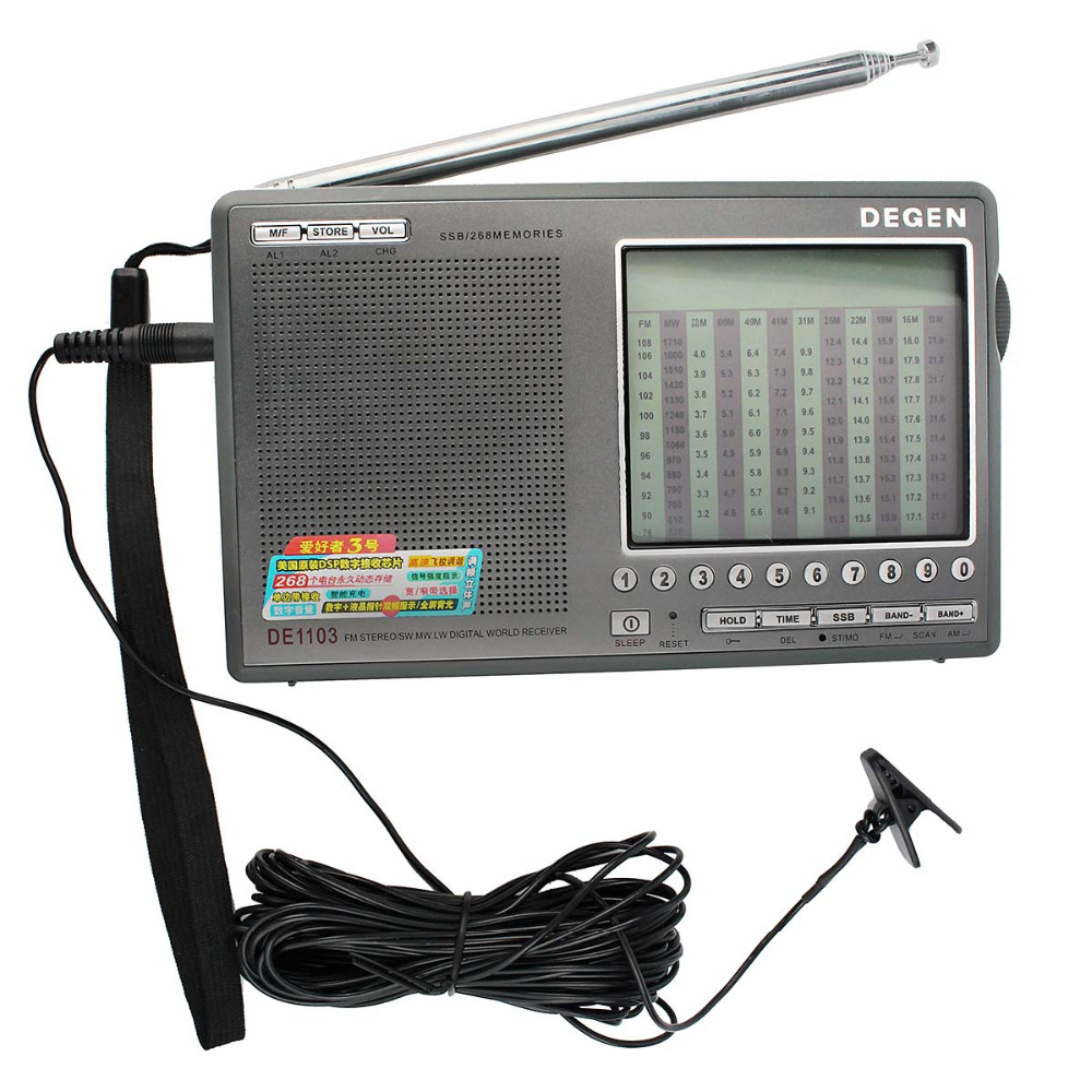 Degen DE1103 Radio DSP FM SW MW LW SSB Digital World Receiver & External Antenna FM Radio Recorder Radio Station Y4162H 2pcs tivdio v 111 portable fm radio dsp fm stereo mw sw lw portable radio full band world receiver clock 9khz 10khz radio fm