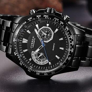 Мужские часы CURREN, модные деловые кварцевые часы, спортивные полностью стальные водонепроницаемые наручные часы, мужские часы