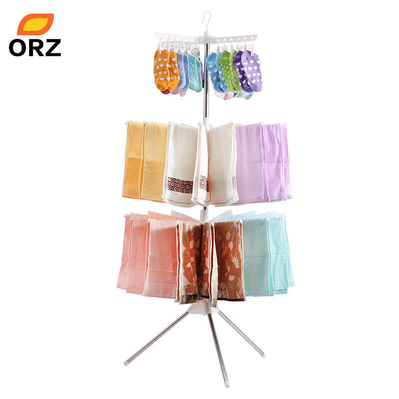 ORZ Clothes Drying Rack Folding Laundry Hanger 3-Layer Clothing Organizer For Garment Pants <font><b>Towel</b></font> Underware Storage Holder Rack