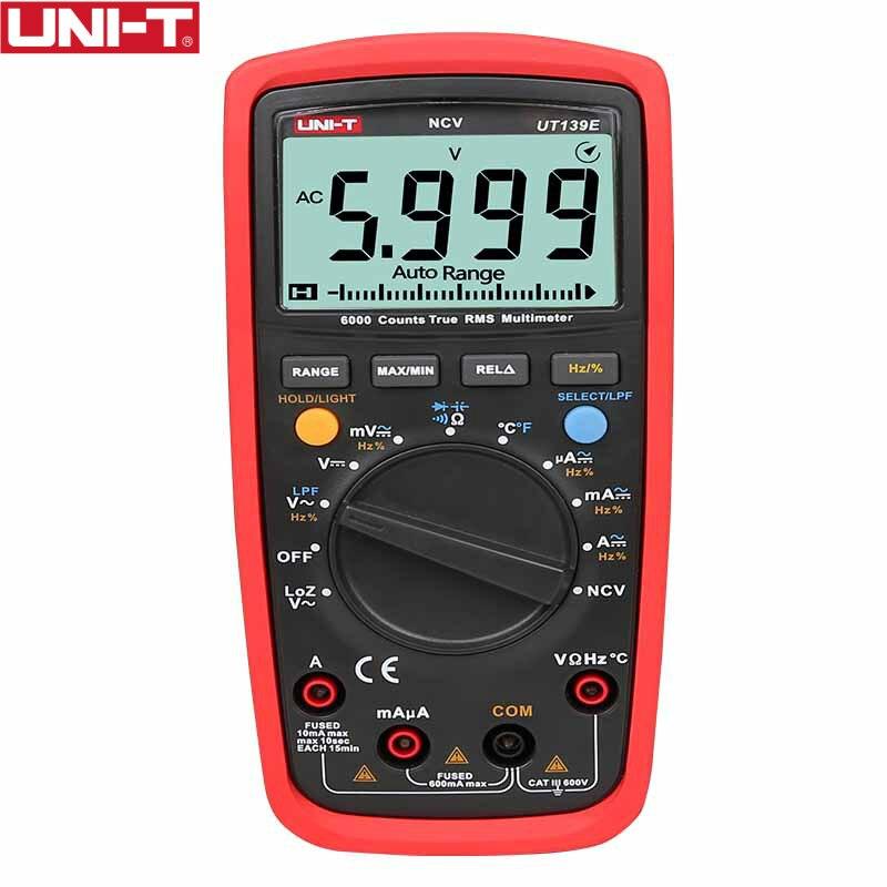 True RMS sonde de température multimètre numérique LPF filtre de passage LoZ LoZ (entrée à faible impédance) fonction/test de température EB UT139E