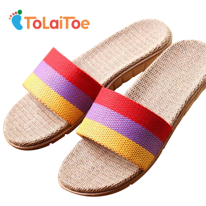 ToLaiToe Women's Fashion Striped 3 Colors New Linen Home Floor Slippers Silent Sweat Slippers For Summer Cool Sandals Shoes tolaitoe autumn