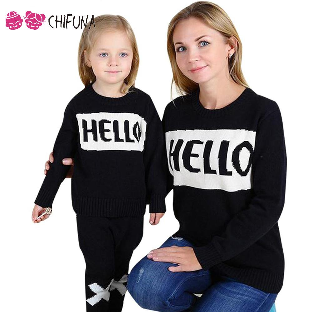 chifuna HELLO Print Black Sweater 2017 Letter Pattern Family Look For Girls Mother Matching Mother Daughter