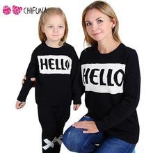 """Chifuna """"BONJOUR"""" Imprimer Chandail Noir 2017 Lettre Motif Famille Look Pour Filles Mère Correspondant Mère Fille Vêtements Chandail"""
