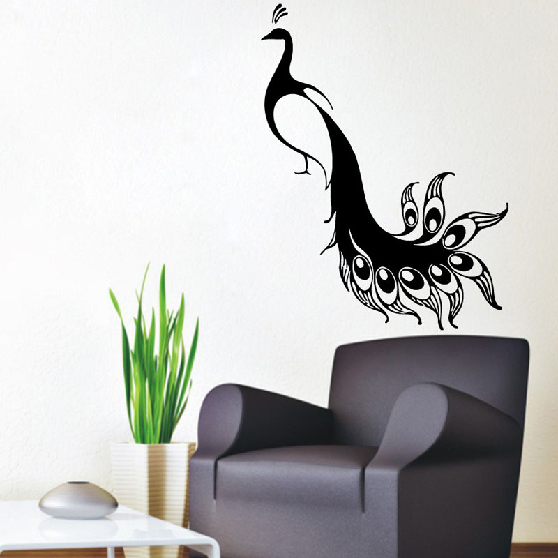 Modern Wall Stickers Home Decor Bird Animals Peacocks Wall Decals Sticker  PVC Living Room Home Art Part 9