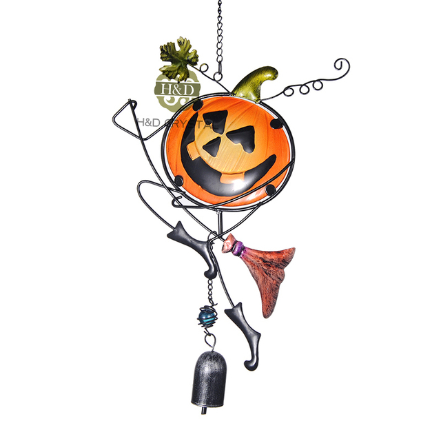 pumpkin halloween fengshui wind chimes outdoor living room metal hanging decorative pendant homegarden party decoration crafts