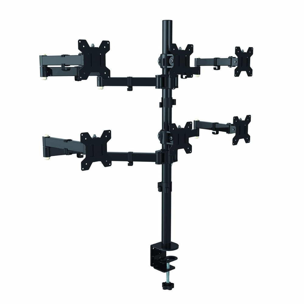 Suptek Hex Arm LCD LED Monitor Stand Desk Mount Bracket Heavy Duty & Fully Adjustable 6 Screens up to 27 MD68126