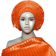 African head wraps auto gele headtie aso oke Gele with shoulder gele Free Shipping
