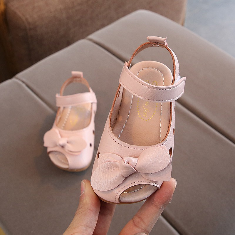 New Summer Kids Girls Shoes 2019 Fashion Leathers Children Sandals Sweet Toddler Baby Anti-slip Hollow Out Bow Shoes