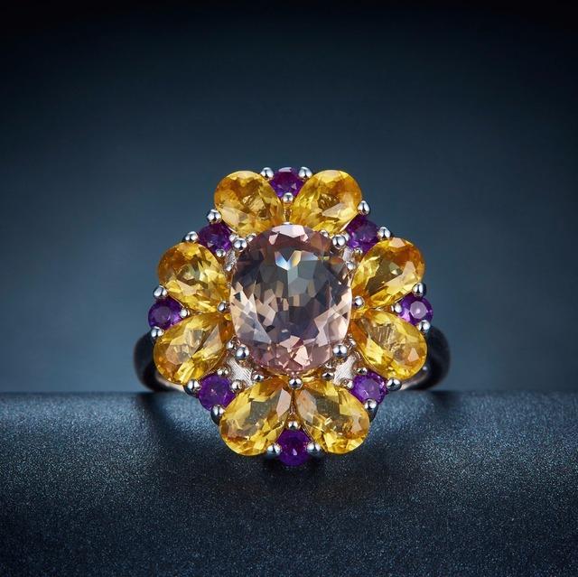 POPOKi Silver Ring with Gemstones Ametrine & Citrine & Amethyst