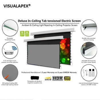 "140"" 16:9 Ceiling Recessed Projector Screen with Motorised Closure Tab-Tensioned Electric Remote Projection Screen"