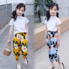 цена на Girls Clothing Sets 2019 New Summer off shoulder  T-Shirt+Pants 2 Pcs Kids Clothing Sets Children Clothing 3 4 5 6 7 8 9 10y