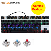 Discount Metoo Edition Mechanical Keyboard 104 keys Blue Switch Gaming Keyboards for Tablet Desktop Russian sticker metoo edition backlit led gaming mechanical keyboard 87 104 keys blue black red switch genuine wired keyboards russian english