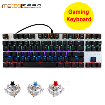 Discount Metoo Edition Mechanical Keyboard 104 keys Blue Switch Gaming Keyboards for Tablet Desktop Russian sticker
