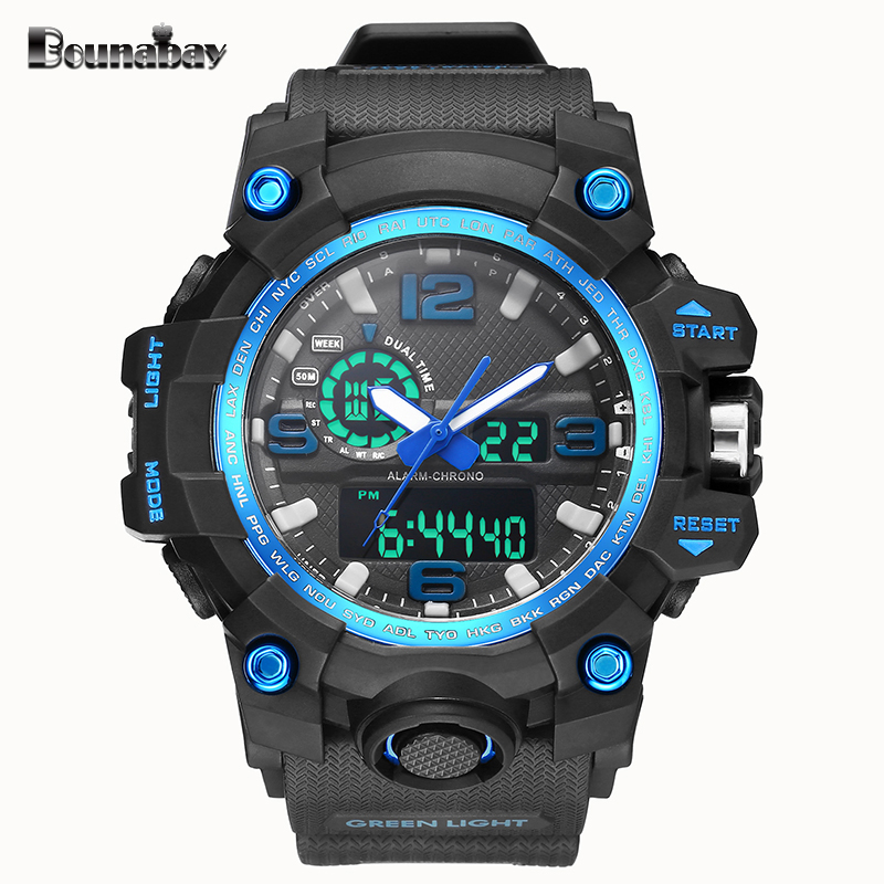 BOUNABAY Men Quartz Digital Watch Waterproof Military Army Man Sports Watches Calendar Chronograph Wristwatch Relogio MasculinoBOUNABAY Men Quartz Digital Watch Waterproof Military Army Man Sports Watches Calendar Chronograph Wristwatch Relogio Masculino