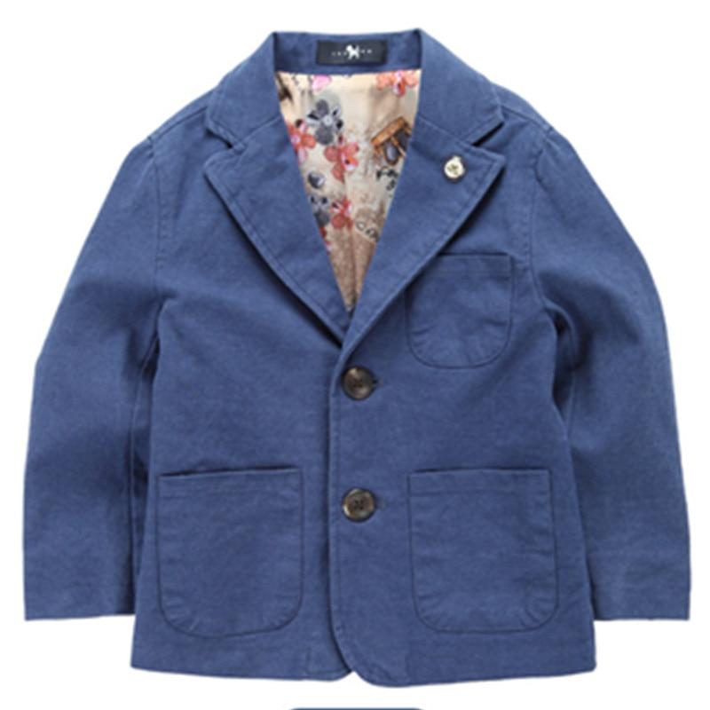 nový příjezd tkaná bavlna 100% chlapecký sako pevná modrá