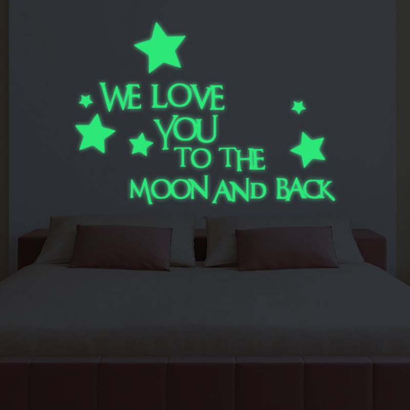 1 Set Nice Luminous Stickers Letter We Love You To The Moon And Back Stars Kids Bedroom Dormitory Glow In The Dark Toy