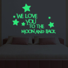 1 Set Nice Luminous Stickers Letter We Love You To The Moon And Back Stars Kids