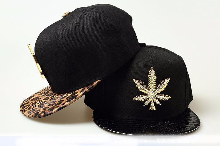 9876f5378 Leopard Leather Snapback Hat Cap Adjustable Leather Hip Hop Hat Cap Diamond  Maple Leaf Men Women Baseball Cap Free Shipping-in Baseball Caps from ...