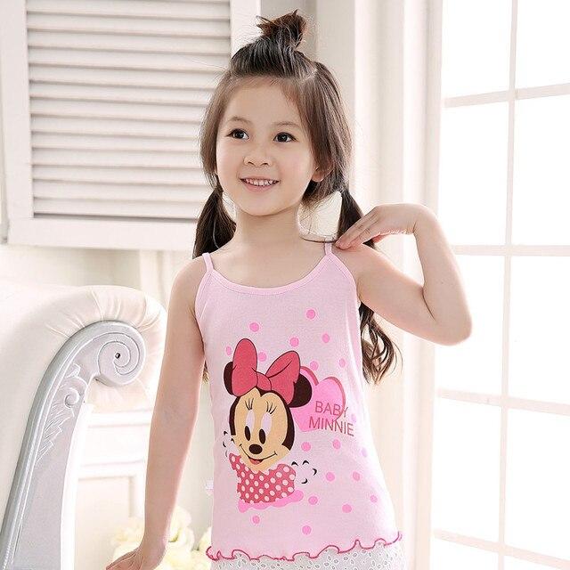 Fashion Summer Girls Tanks Children Underwear Girls Tops Cotton Vest Kids Underwear Model Girls Camisoles 4pcs/lot Free Shipping
