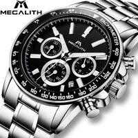 MEGALITH statusu gospodarki rynkowej zegarek Top marka luksusowe wodoodporna Sport zegarek zegar Relogio Masculino Chronograph data biznes kwarcowy zegarek mężczyźni