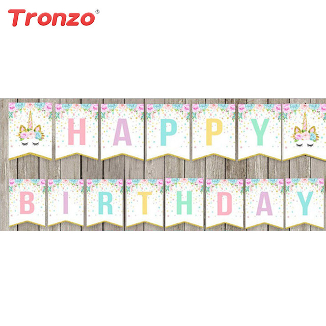 tronzo unicorn happy birthday banner birthday party decorations kids