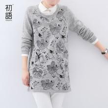 Toyouth 2017 Women Winter Wool Knitted Long-Sleeve Dress POLO Collar Print Medium Female Dress