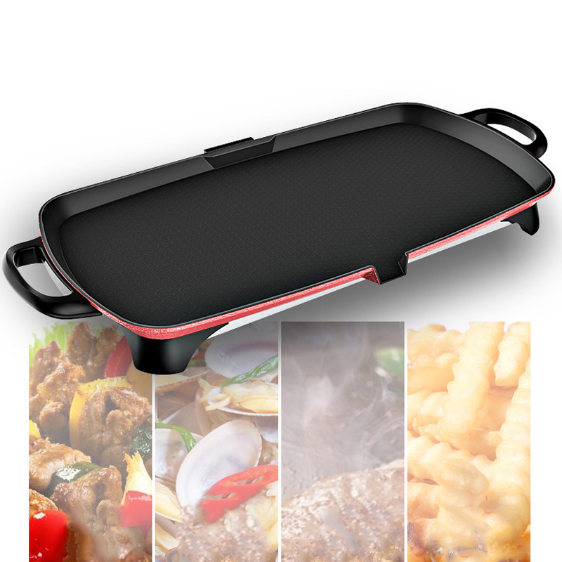 US $103.24 10% OFF|Electric Bbq Grill Smokeless Non stick Baking Flat Pan with Accessories Electric Oven Indoor Barbecue Machine Electric