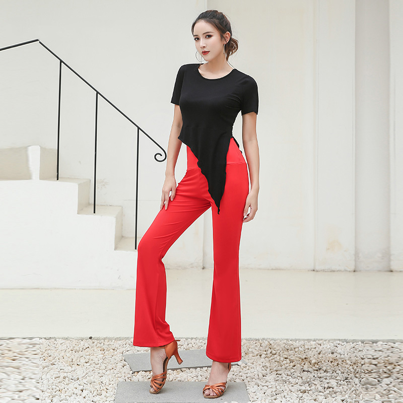 New Latin Dance Tops+Pants For Women Dance Costume Black Shirt Tango Red Trousers Modern Chacha Latin Dance Clothes Women BL1854