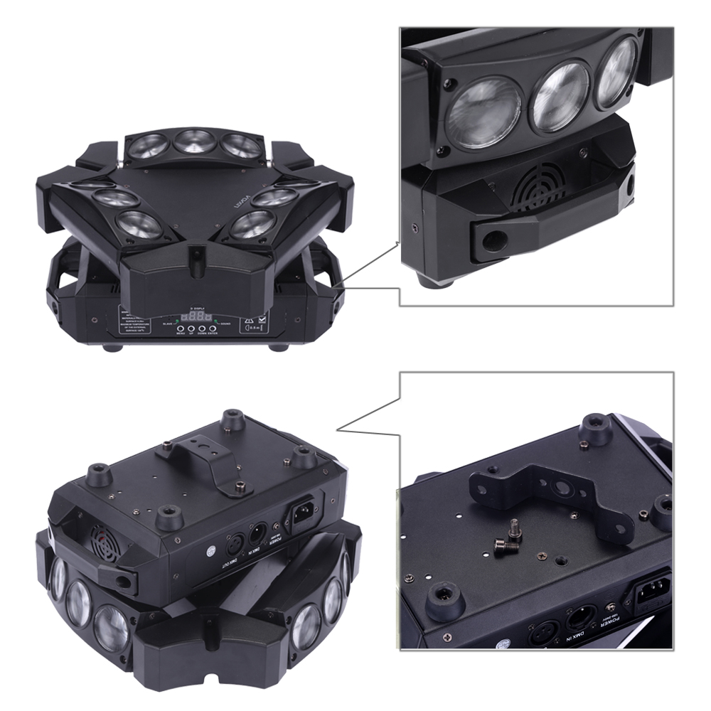 US $287 18 |Spider Lamp Beam Stage Light 90W 9Led Rgbw Full Color Dmx512 Dj  Laser Stage Light Sound Control Auto 16/48 Channel Disco Light-in Stage