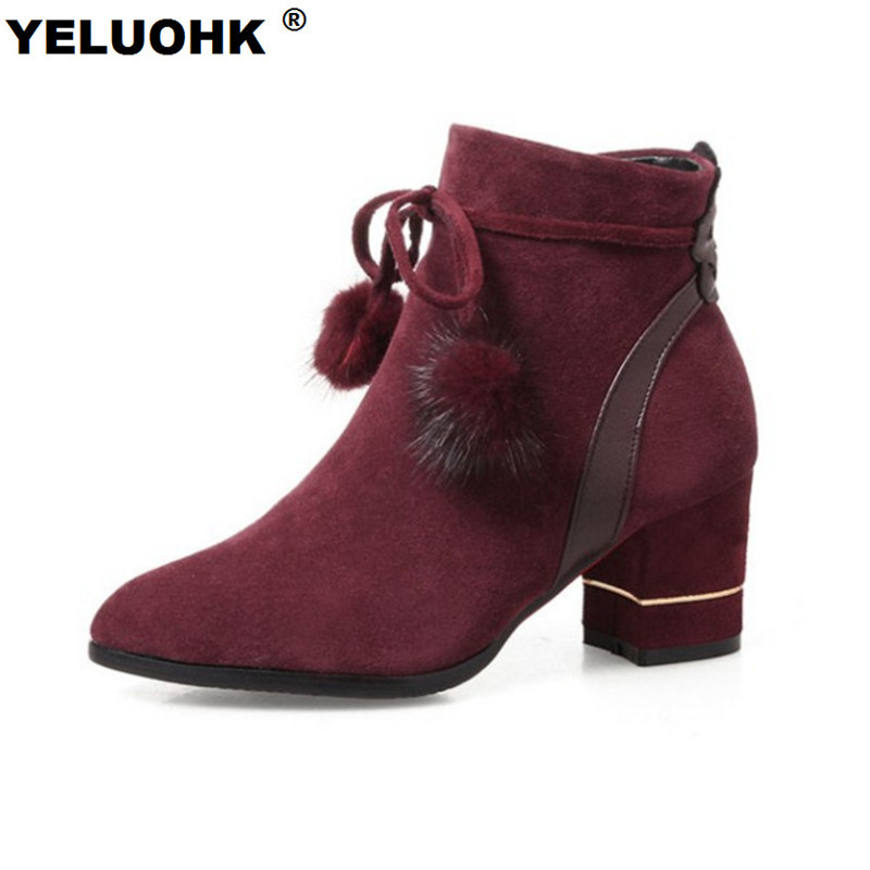 New Autumn Shoes Ankle Boots For Women Fashion Women High Boots With Fur Casual High Heels Women Shoes Pumps Autumn Boots Women