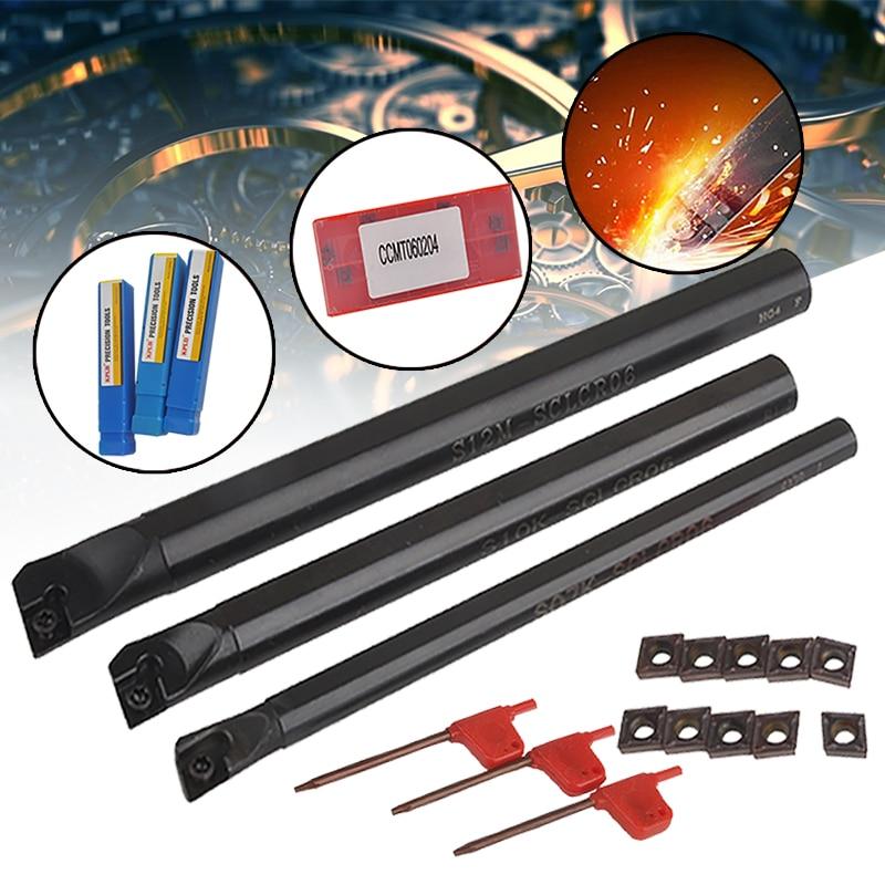 3 db SCLCR fúrószerszám-tartó + 10 db CCMT0602 keményfém betét + 3 db-os kulcsok eszterga esztergaszerszámokhoz