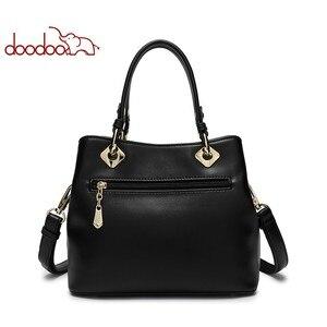 Image 3 - DOODOO المرأة بولي Leather حقيبة يد جلدية حمل حقيبة الإناث الكتف حقائب كروسبودي السيدات الأعلى مقبض حقيبة شرابة الإملائي اللون حقيبة ساع