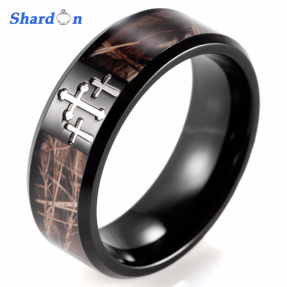SHARDON Engagement Rings Anniversary Band Mens Black Simply Cross Camo Ring Titanium Outdoor Camouflage Wedding band