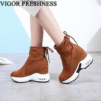 VIGOR FRESHNESS 10CM Heels Woman Ankle Boots Spring Women Shoes Low Heels Boots Autumn Ladies Motorcycle Boots Sneakers WY112