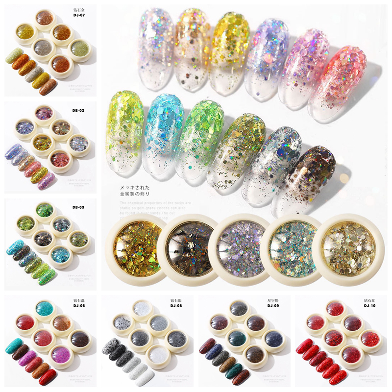 6 Jars/Set Holographic Laser Nail Glitter Mermaid Sequins Nail Dip Powder Chrome Pigment Nail Art Decorations Manicure Design image
