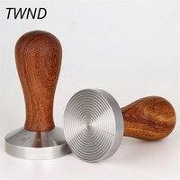 Ripple coffee tamper with precious wood handle 58mm stainless steel pressure hammer