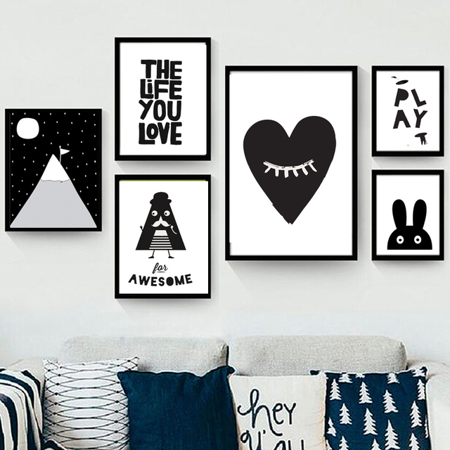 New decorative pictures poster art for kids room baby painting black ...