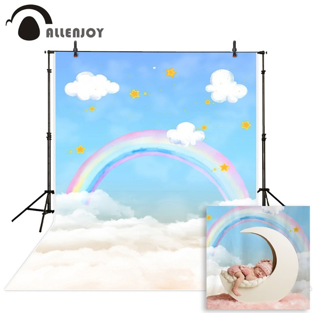 Allenjoy photography background blue sky white cloud rainbow new born baby birthday theme backdrop professional photo studio