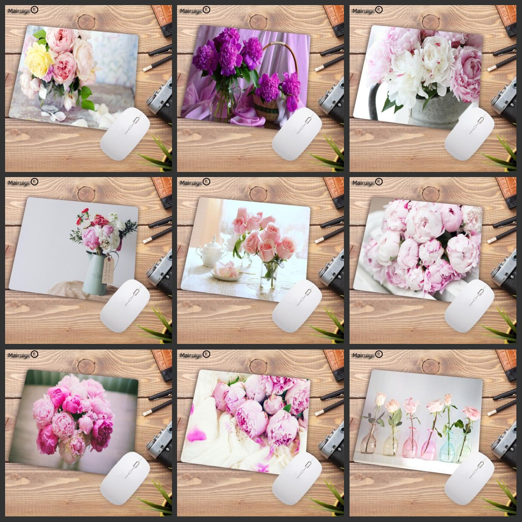 Mairuige Big Promotion Pink Flower Vase Laptop Gaming Mice Mousepad Small SIZE Rubber Game Mouse Pad Your Wife Girl Friend Gift