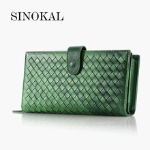 Women Genuine Leather Long Wallets Vintage Handbag Purses Knitting Wallets Sheepskin Zipper Hasp With Double Card Holder Photo