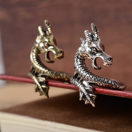 LNRRABC Sale New Arrival Charms Punk Fashion Exaggerated Rings for Men and Women Vintage Retro Dragon Ring Jewelry Gift