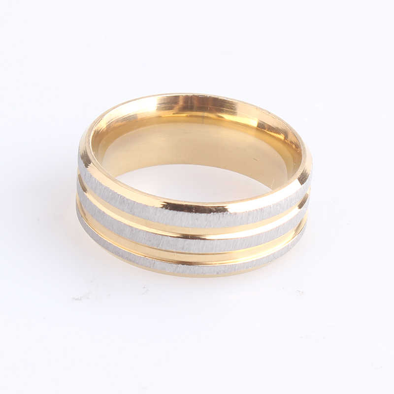 8mm three stripe silver brushed 316L Stainless Steel wedding rings for men women wholesale