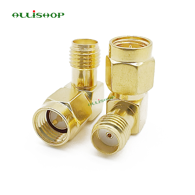 ALLISHOP SMA To SMA Connector 90 Degree Right Angle SMA Male To Female Adapter Screw The Needle To SMA Male To Female