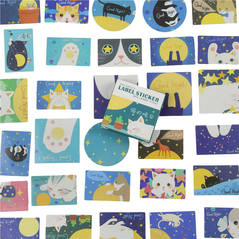 40 Pcs/Box Cat Night Mini Paper Sticker Set Decoration DIY Diary Scrapbooking Album Sealing Sticker Kawaii Stationery Supplies