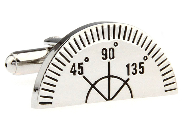 Novelty Half round Angle measurement ruler Angle gauge Cuff Links
