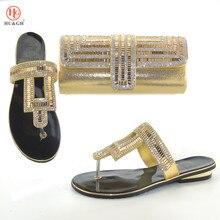 Dernières chaussures italiennes avec sac assorti brillant dans des chaussures en or de mariage avec des sacs assortis femmes chaussures et sac serti de strass